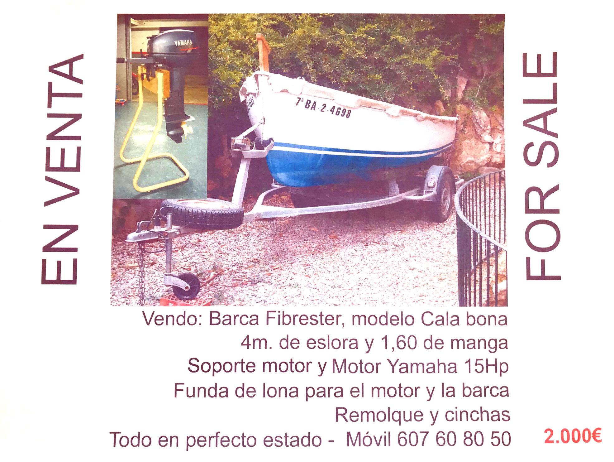 Barca Fibrester 4 mts – 2.000 €